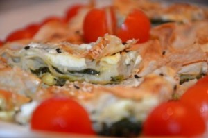 Bätterteig mit Käse und Spinat